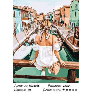 Сложность и количество цветов На мосту венецианского канала Раскраска картина по номерам на холсте PK35045