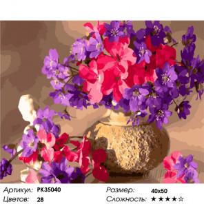 Сложность и количество цветов Букет из весенних цветов Раскраска картина по номерам на холсте PK35040