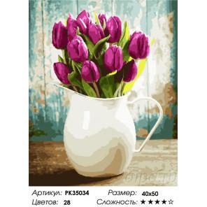 Сложность и количество цветов Ваза с тюльпанами Раскраска картина по номерам на холсте PK35034