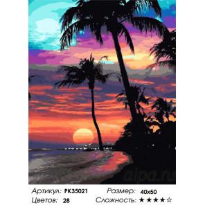 Сложность и количество цветов Гавайский закат Раскраска картина по номерам на холсте PK35021