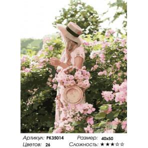 Сложность и количество цветов Девушка в саду Раскраска картина по номерам на холсте PK35014
