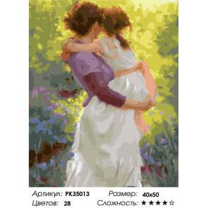 Сложность и количество цветов Мамины объятия Раскраска картина по номерам на холсте PK35013