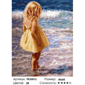 Сложность и количество цветов Девочка у моря Раскраска картина по номерам на холсте PK35012