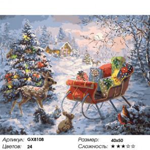 Сложность и количество цветов Подарки у ёлки Раскраска картина по номерам на холсте GX8108
