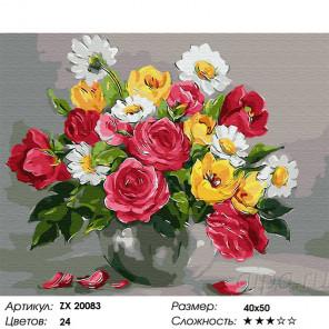 Сложность и количество цветов Дачный букет Раскраска картина по номерам на холсте ZX 20083