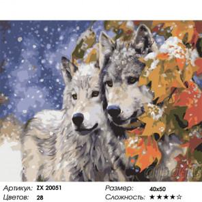 Сложность и количество цветов Волки Раскраска картина по номерам на холсте ZX 20051
