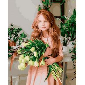 Девочка с цветами Раскраска картина по номерам на холсте GX30450