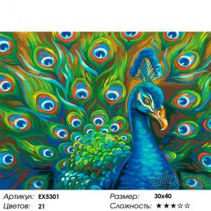 Сложность и количество цветов Королевский павлин Раскраска картина по номерам на холсте EX5301