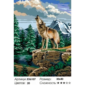 Сложность и количество цветов Волчий зов Раскраска картина по номерам на холсте EX6107