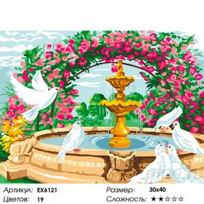 Сложность и количество цветов Любовь и голуби Раскраска картина по номерам на холсте EX6121