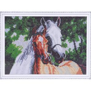 Две лошади Алмазная мозаика на подрамнике LE090