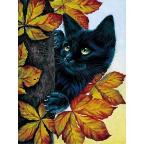 Чёрный кот Алмазная мозаика на подрамнике LE043