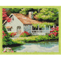 Домик у пруда Алмазная мозаика на подрамнике QA200015