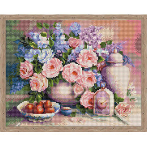 Натюрморт с розами Алмазная мозаика на подрамнике QA200290