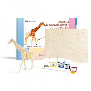 Жираф Деревяный 3Д пазл с красками HC212