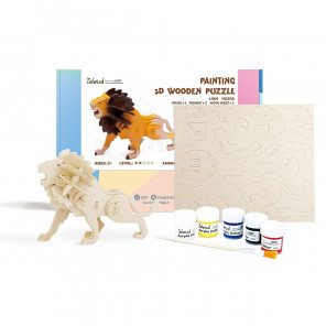 Лев Деревяный 3Д пазл с красками HC208