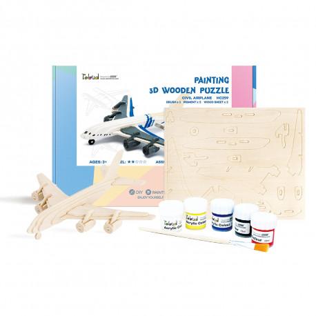 Самолет Деревяный 3Д пазл с красками HC259