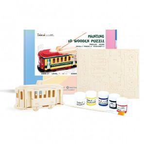 Троллейбус Деревяный 3Д пазл с красками HC252