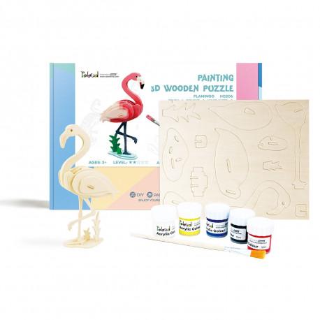 Фламинго Деревяный 3Д пазл с красками HC206