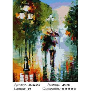 Сложность и количество цветов Дождливый парк Раскраска картина по номерам на холсте ZX 22646