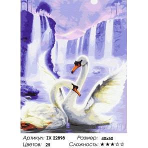 Сложность и количество цветов Лебеди у водопада Раскраска картина по номерам на холсте ZX 22898