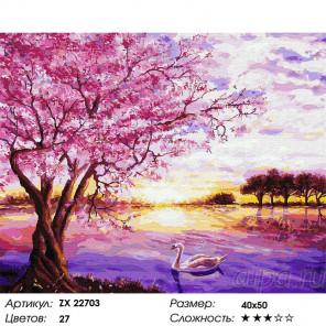 Сложность и количество цветов Розовый закат Раскраска картина по номерам на холсте ZX 22703