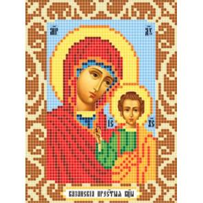 Пример оформления в рамку Богородица Казанская Ткань для вышивания с нанесенным рисунком Божья коровка 0069