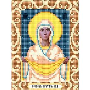 Пример оформления в рамку Богородица Покрова Ткань для вышивания с нанесенным рисунком Божья коровка 0073