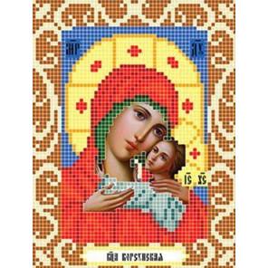 Пример оформления в рамку Богородица Корсунская Ткань для вышивания с нанесенным рисунком Божья коровка 0080