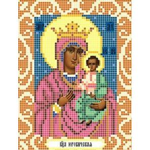 Пример оформления в рамку Богородица Юровичская Ткань для вышивания с нанесенным рисунком Божья коровка 0081