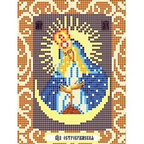 Пример оформления в рамку Богородица Остробрамская Ткань для вышивания с нанесенным рисунком Божья коровка 0082