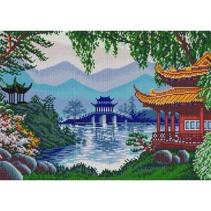Китайские пагоды Ткань с нанесенным рисунком для вышивки бисером Конек 1290