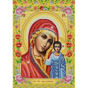 Пример оформления в рамку Богородица Казанская Ткань с нанесенным рисунком для вышивки бисером Конек 9261