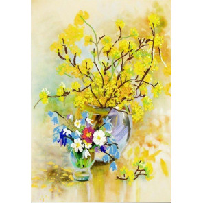 Весенний цвет Ткань с нанесенным рисунком для вышивки бисером Конек 8486