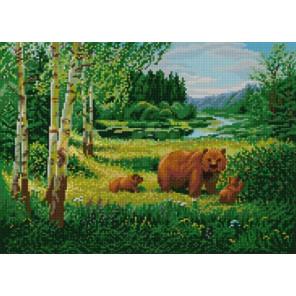 Пейзаж с медведями Ткань с нанесенным рисунком для вышивки бисером Конек 1233