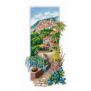 Улица цветов Ткань с нанесенным рисунком для вышивки бисером Конек 8474