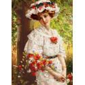 Девушка с маками Ткань с нанесенным рисунком для вышивки бисером Конек