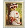 Пример оформления в рамку Девушка с маками Ткань с нанесенным рисунком для вышивки бисером Конек 8475