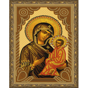 Тихвинская Божия Матерь Картина 5D алмазная мозаика с нанесенной рамкой KM0181