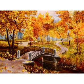 Золотая осень Раскраска картина по номерам на холсте с цветной схемой KK0007
