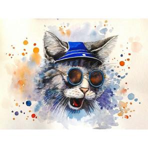 Кот-рокер Раскраска картина по номерам на холсте с цветной схемой KK0011