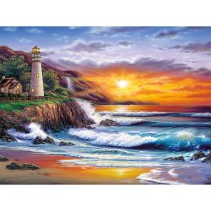 Красивый закат Раскраска картина по номерам на холсте с цветной схемой KK0019