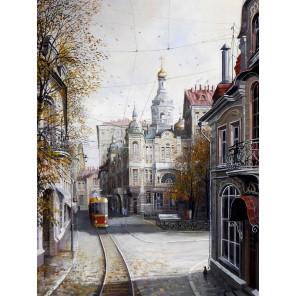 Ушедшая Москва Раскраска картина по номерам на холсте с цветной схемой KK0022