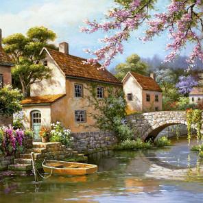 Городок на реке Раскраска картина по номерам на холсте KH0392