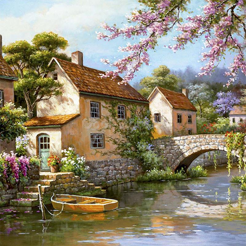 KH0392 Городок на реке Раскраска картина по номерам на ...