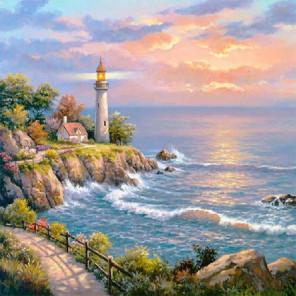 Маяк на заливе Раскраска картина по номерам на холсте KH0393