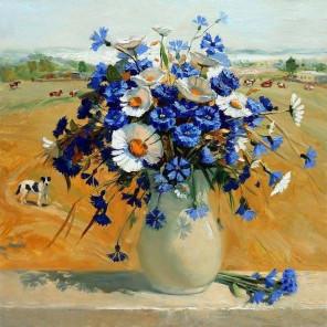 Ромашки с васильками в вазе Раскраска картина по номерам на холсте KH0376