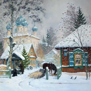 Зима в деревне Раскраска картина по номерам на холсте KH0379