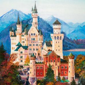 Средневековый замок Раскраска картина по номерам на холсте KH0386