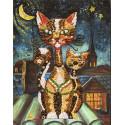 Кошки Набор для создания картины из пайеток на холсте МХ-02